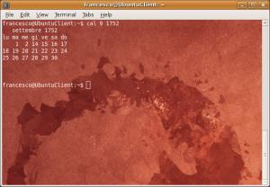 Terminale Linux con cal 9 1752
