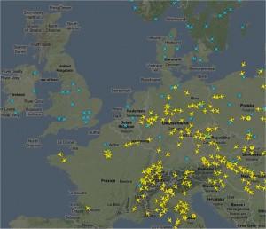 Situazione del traffico aereo alle ore 17.30 del 15 Aprile 2010