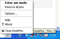 Deskpins-opzioni