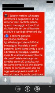 Whatsapp a pagamento, il messaggio